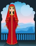 Animation portrait of the beautiful Arab girl standing against the background of a palace window. Mountain landscape, house silhouette. Full growth. The place Royalty Free Stock Photos