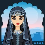 Animation portrait of the beautiful Arab woman in ancient clothes. Animation portrait of the beautiful Arab girl standing against the background of a palace Royalty Free Stock Images