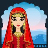 Animation portrait of the beautiful Arab woman in ancient clothes. Animation portrait of the beautiful Arab girl standing against the background of a palace Royalty Free Stock Photos