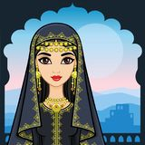 Animation portrait of the beautiful Arab woman in ancient clothes. Animation portrait of the beautiful Arab girl standing against the background of a palace Stock Photo