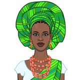 Animation portrait of the beautiful  black woman in a turban and ethnic jewelry. Color drawing. Vector illustration isolated on a white background.Template for vector illustration
