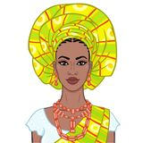 Animation portrait of the beautiful  black woman in a turban and ethnic jewelry. Color drawing. Vector illustration isolated on a white background.Template for stock illustration