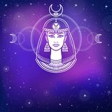 Animation portrait of the beautiful Egyptian woman. Background - the night stellar sky. Stock Images