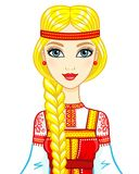 Animation portrait of the beautiful girl in an ancient Russian dress. Royalty Free Stock Photos