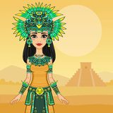 Animation portrait of the beautiful girl in a dress of the Native American Indian. Royalty Free Stock Photography