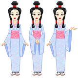 Animation portrait the beautiful Japanese girl in three different poses. Geisha, Maiko, Princess. Full growth. Royalty Free Stock Photos