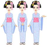 Animation portrait the beautiful Japanese girl in three different poses. Geisha, Maiko, Princess. Full growth. Stock Images
