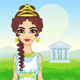 Animation portrait of the beautiful young woman in traditional clothes of Ancient Greece. Royalty Free Stock Photos