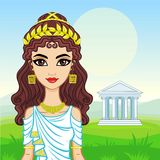 Animation portrait of the beautiful young woman in traditional clothes of Ancient Greece. Stock Photos