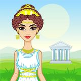 Animation portrait of the beautiful young woman in traditional clothes of Ancient Greece. Stock Photography
