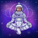 Animation portrait of the black woman astronaut in a space suit. Animation figure of the black woman astronaut in a space suit sitting in a Buddha pose Royalty Free Stock Image