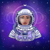 Animation portrait of the black woman astronaut in a space suit. Color drawing. Background - the night star sky. Vector illustration.  Print, poster, t-shirt Stock Image
