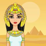 Animation portrait of the Egyptian queen. A background - a landscape the desert, pyramids. The place for the text. Stock Images