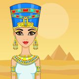 Animation portrait of the Egyptian queen. A background - a landscape the desert, pyramids. The place for the text. Stock Photo