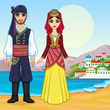Animation portrait of a family in ancient Greek clothes. Full growth. Background - a sea landscape, mountains, the old city port. Vector illustration Stock Photography