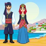 Animation portrait of a family in ancient Greek clothes. Full growth. Background - a sea landscape, mountains, the old city port. Vector illustration Royalty Free Stock Photos
