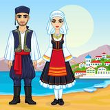 Animation portrait of a family in ancient Greek clothes. Full growth. Background - a sea landscape, mountains, the old city port. Vector illustration Stock Photo