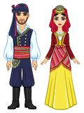 Animation portrait of a family in ancient Greek clothes. Full growth. Royalty Free Stock Images