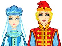 Animation portrait of a family in ancient Russian clothes. Royalty Free Stock Image