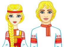 Animation portrait of a family in ancient Russian clothes. Royalty Free Stock Photo