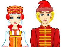 Animation portrait of a family in ancient Russian clothes. Stock Images