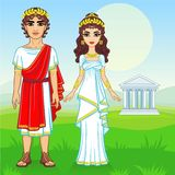 Animation portrait of a family in clothes of Ancient Greece. Full growth. Background - the mountain valley, the antique temple. Vector illustration Stock Photo