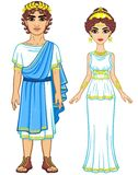 Animation portrait of a family in clothes of Ancient Greece. Stock Photos