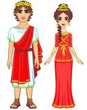 Animation portrait of a family in clothes of Ancient Greece. Royalty Free Stock Photography