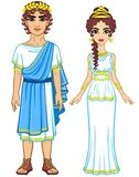 Animation portrait of a family in clothes of Ancient Greece. Stock Photography
