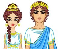 Animation portrait of a family in clothes of Ancient Greece. Royalty Free Stock Image