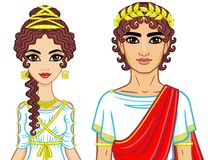 Animation portrait of a family in clothes of Ancient Greece. Stock Image