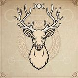 Animation portrait of a horned deer - spirit of the wood. Pagan deity. A background - imitation of old paper, moon symbols. Vector illustration. Print, potser Royalty Free Stock Photo