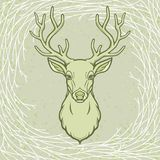 Animation portrait of a horned deer. Wood spirit, pagan deity. A background - a circle of wood branches. Vector illustration Royalty Free Stock Image