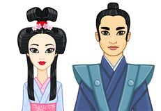 Animation portrait of Japanese family in ancient clotes. Geisha, Maiko, Samurai. Stock Photos