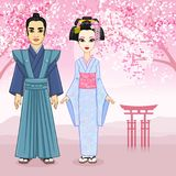 Animation portrait of Japanese family in ancient clotes. Geisha, Maiko, Samurai. Full growth. Royalty Free Stock Photography