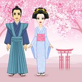 Animation portrait of Japanese family in ancient clotes. Geisha, Maiko, Samurai. Full growth. Stock Photography