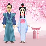 Animation portrait of Japanese family in ancient clotes. Geisha, Maiko, Samurai. Full growth. Royalty Free Stock Image