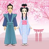 Animation portrait of Japanese family in ancient clotes. Geisha, Maiko, Samurai. Full growth. Stock Photo