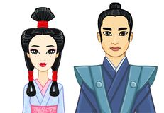 Animation portrait of Japanese family in ancient clotes. Geisha, Maiko, Samurai. Royalty Free Stock Images