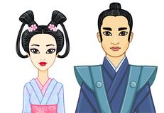 Animation portrait of Japanese family in ancient clotes. Geisha, Maiko, Samurai. Stock Images