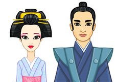 Animation portrait of Japanese family in ancient clotes. Geisha, Maiko, Samurai. Royalty Free Stock Image