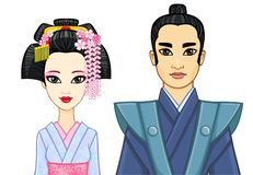 Animation portrait of Japanese family in ancient clotes. Geisha, Maiko, Samurai. Royalty Free Stock Photo