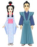 Animation portrait of the Japanese family in ancient  clothes. Geisha,  Maiko, Princess, Samurai. Stock Photography