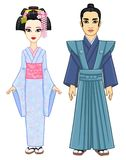 Animation portrait of the Japanese family in ancient  clothes. Geisha,  Maiko, Princess, Samurai. Royalty Free Stock Photos