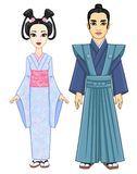 Animation portrait of the Japanese family in ancient  clothes. Geisha,  Maiko, Princess, Samurai. Royalty Free Stock Photo