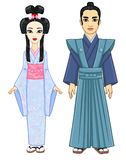 Animation portrait of the Japanese family in ancient  clothes. Geisha,  Maiko, Princess, Samurai. Royalty Free Stock Image