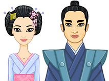 Animation portrait of a Japanese family. Geisha and Samurai. Royalty Free Stock Images