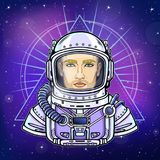 Animation portrait of the man astronaut in an space suit. Background - the night star sky. Vector illustration. Print, poster, t-shirt, card Stock Image