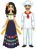 Animation portrait of the Mexican family in ancient festive clothes. Full growth. Vector illustration isolated on a white background Royalty Free Illustration