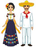 Animation portrait of the Mexican family in ancient festive clothes. Full growth. Vector illustration isolated on a white background Royalty Free Stock Photos